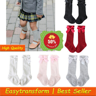 Baby Girls Toddlers Frilly Vintage Knee High Socks Bow School Stockings Cotton