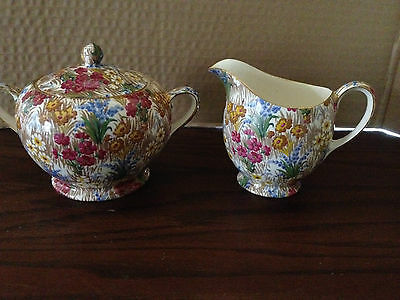 Royal Winton Grimwades Chintz MARGUERITE Sugar Bowl w/ Lid, Creamer Set
