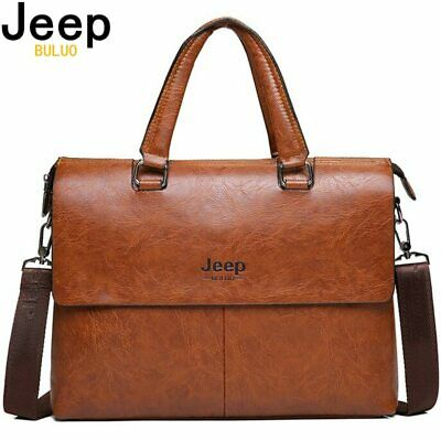 "Men's Leather Brown Briefcase for 13"" Laptop Handbag Business Work Shoulder Case"