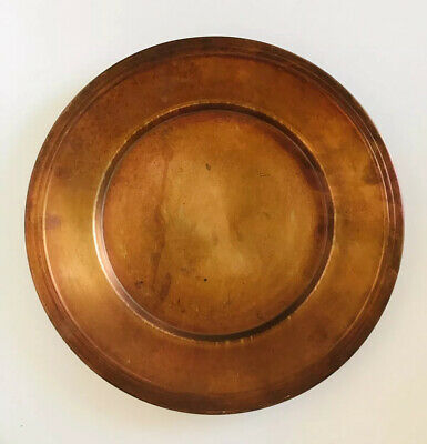"""POTTERY BARN Copper Heavy CHARGER Decorate Plate Made in Turkey 14.5"""" Patina"""