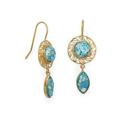 """Stunning 14KT Gold Plated Sterling Ancient Roman Glass Dangle Earrings 2.1""""L"""