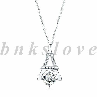 925 Sterling Silver 0.18 Carat CZ Double Eiffel Tower Pendant and Necklace