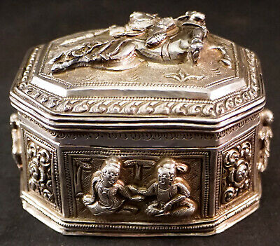Silver Hand Worked Trinket Box from Burma High Relief Figures Warrior on Horse +