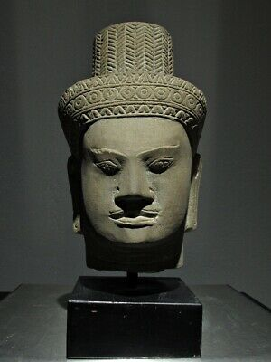 Khmer Sculpture Sandstone Head Of A Male Deity, Angkor Wat Bayon Style Angkorian