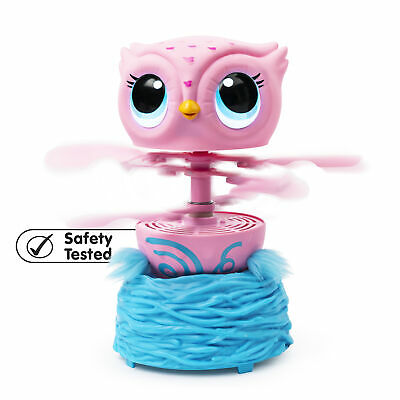 Owleez Flying Baby Owl Interactive Toy with Lights & Sounds (Pink) for Kids