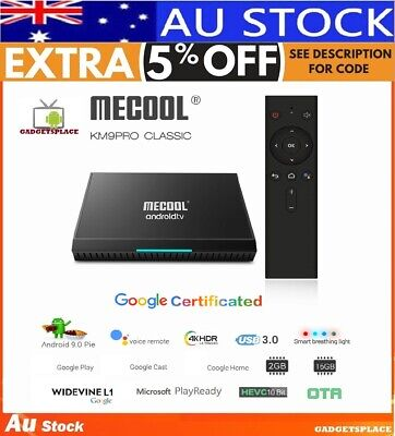 ✔AU MECOOL KM9 Pro Classic 4K Smart Box Android TV ATV 2GB+16GB Voice Control BT