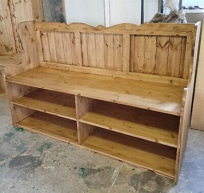 New Handmade 5ft Solid Pine Monks bench Shoe Storage Farrow and Ball