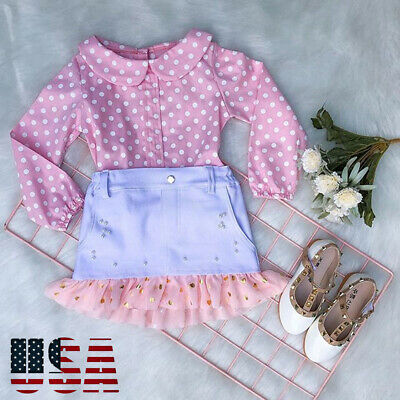 Toddler Baby Girls Lace Top T-shirt+Tutu Skirt Dress Kids Casual Clothes Outfit