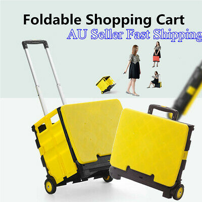 Foldable Shopping Cart Trolley Portable Pack & Roll Folding Grocery Basket AU l