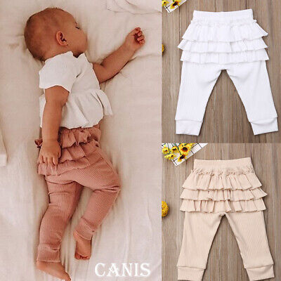 Girls Warm Cake Culottes Leggings with Ruffle Tutu Skirt Pants Trousers US