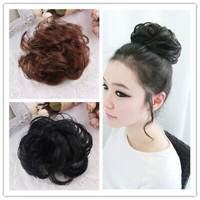 100% Natural Curly Messy Bun Hair Piece Scrunchie Hair Extensions as Human Cces