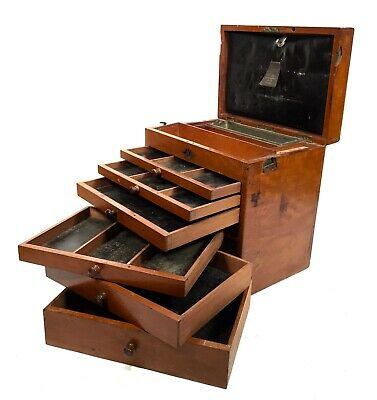 Antique Wooden Cabinet - The Dental Manufacturing Co London / Collectors Cabinet