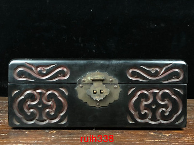 "10.6""Asia antique Lacquer ware carving Pine crane Pattern Storage box"