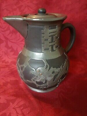 Antique Chinese Yixing Clay & Pewter Water Jug