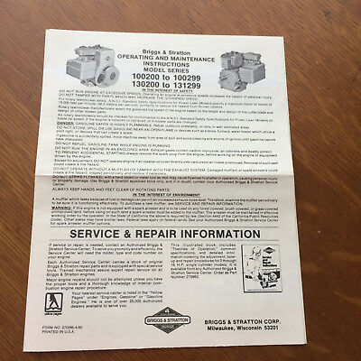 BRIGGS & STRATTON 100200 100299 130200 131299 Operating Instructions Manual