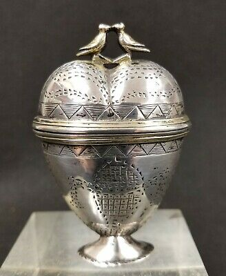 Antique Scandinavian Sterling Silver Marriage Wedding Trinket Box Love Birds