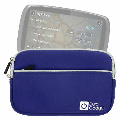 "Duragadget | Blue 7"" Water-Resistant Neoprene Case for the TomTom Trucker 6000"