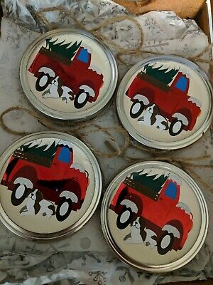 Set of (4) Mason Jar Lid Handmade Christmas Ornaments Featuring Red Truck & Dog