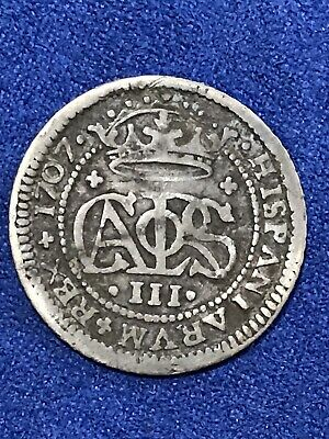 1707 Spanish Silver 2 Reales Piece of 8 Real Colonial Era Pirate Treasure Coin