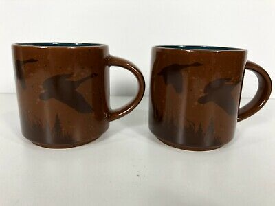 Tim Hortons No. 17 Limited Edition Brown Coffee Mugs Canadian Geese Pair