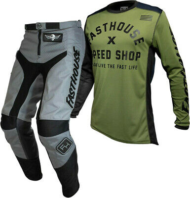 """Fasthouse GRINDHOUSE Motocross Gear GREY HERITAGE OLIVE ADULT 32"""""""