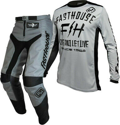 """Fasthouse GRINDHOUSE Motocross Gear GREY DICKSON SILVER ADULT 32"""""""