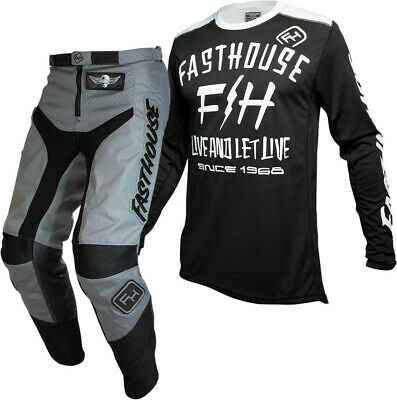 """Fasthouse GRINDHOUSE Motocross Gear GREY DICKSON BLACK ADULT 32"""""""