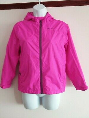 Bnwot Mountain Warehouse - Girls Deep Pink Lined/Hooded Raincoat - Age 11/12