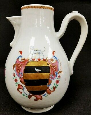 Antique 18th c. Chinese Export Porcelain Armorial Family Crest Jug Pitcher