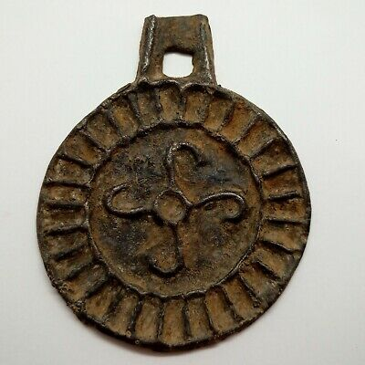Bronze Mirror Solar sign 卐 Pendant Amulet  100-300AD.Scythians / Celtic