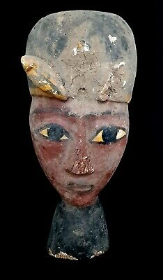 Rare Huge Ancient Pharaonic Mummy Mask wooden egyptian coffin antiques pharaoh