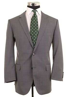 RECENT Hugo Boss Gray Striped Woven S100's Wool 2pc Suit Jacket Pants 44 R