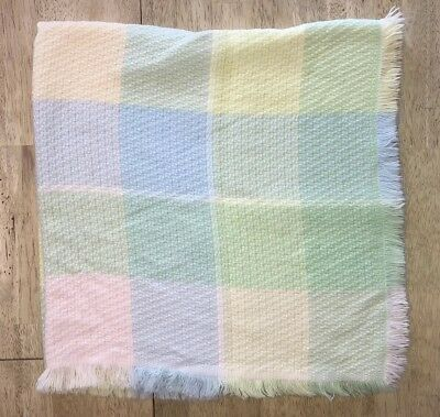 Churchill Weavers Hand Woven Vintage Acrylic Baby Blanket Pastel Plaid Fringe
