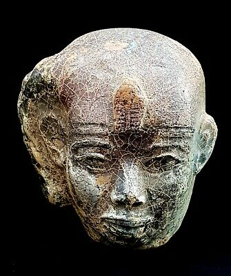 Rare Ancient Pharaoh Head egyptian statue antique bust queen carved stone egypt