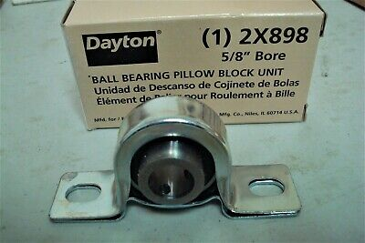 "DAYTON 2X898 Pillow Block Bearing,Ball,5/8"" Bore.( Lot 794)"