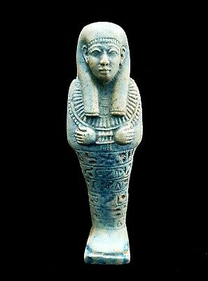 Rare Unique Ushabti Egyptian Ancient Faience Shabti Statue Mummy hieroglyphic