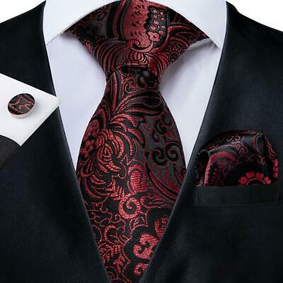 UK Wine Red Black Paisley Silk Tie Set Mens Necktie Hanky Cufflinks Wedding