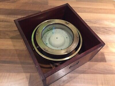 Antique Brass Gimble Boat Compass in Box Maritime Marine Nautical