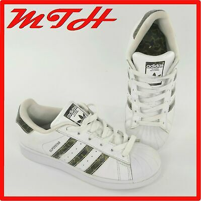 Adidas Originals Boys Girls Superstar Sneakers Trainers White CAMO Size UK 3 VGC