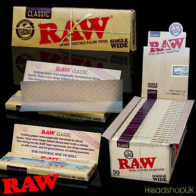 Raw Classic Single Wide Rolling Papers 50 Leaves Per Pack 50 Packs Per Box