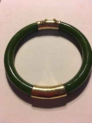 Vintage CHINESE EXPORT GOLD PLATE SPINACH GREEN JADE Nephrite HINGED BANGLE