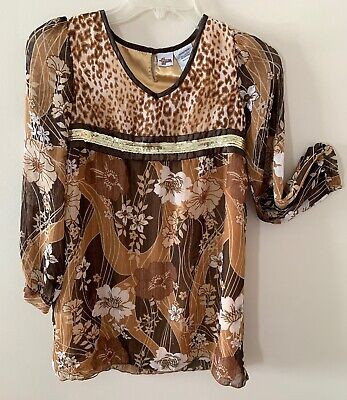 Girls Hannah Montana Brown Lined With Gold Polyester Floral Print Dress Size 10
