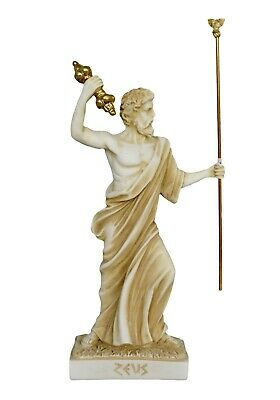 Zeus Alabaster aged statue - Olympians - King of Gods - Ruler of Sky and Thunder