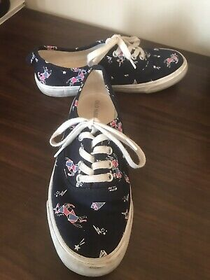 Old Navy BIG GIRLS Blue Unicorn Ice Cream Lace Up Tie Sneakers SIZE 3