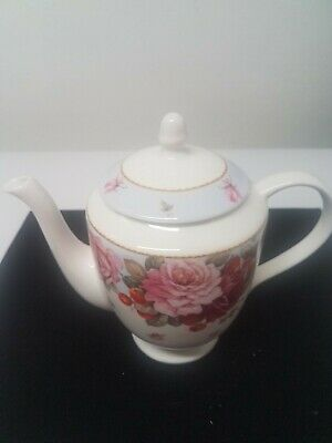 Gracie Stechcol White+Pink Rose Flowers,Coffee /Tea Pot Teapot.