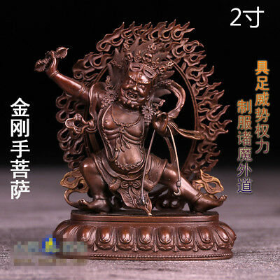 "3"" Antique Tibetan Buddhism red copper hand made Vajrapani Buddha statue"