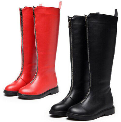 Kids Girls Over Knee High Winter Warm Riding Boots Front Zip Up Biker Shoes Size