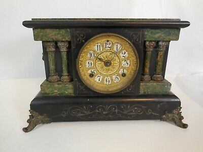 Antique Seth Thomas Green & Black Brass Mantle Clock Lions Heads Ornate vtg