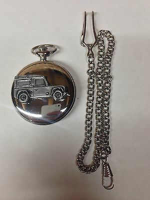Defender ref115 emblem on polished silver case pocket watch
