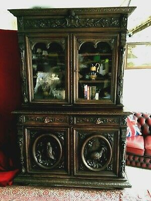 Victorian Continental Antique Carved Oak Green Man Gothic Bookcase